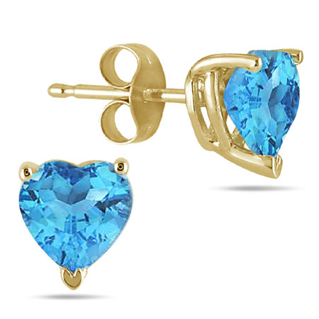 6mm All-Natural Heart Shaped Blue Topaz Earrings in 14K Yellow Gold