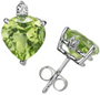6mm Heart-Cut Peridot and Diamond Studs in 14K White Gold