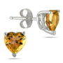 Heart-Cut Citrine Stud Earrings, 14K White Gold (4mm)
