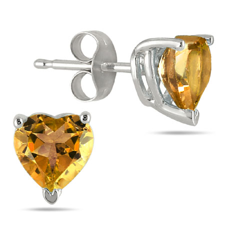 6mm Heart Shaped Citrine Stud Earrings, 14k White Gold