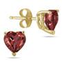 6mm Heart-Shaped Garnet Stud Earrings, 14K Yellow Gold
