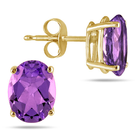 6x4mm Oval Amethyst Stud Earrings Set in 14K Yellow Gold