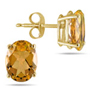6x4mm Oval-Cut Citrine Stud Earrings in 14K Yellow Gold