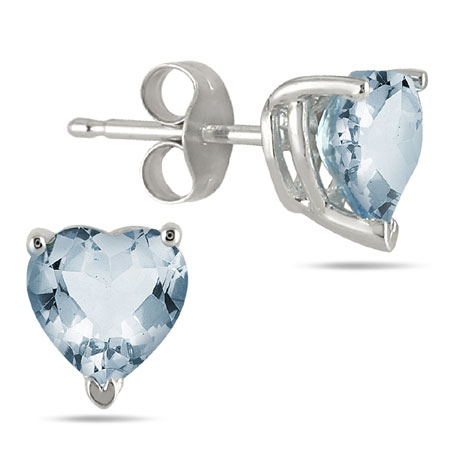 Heart-Shaped 4mm Aquamarine Studs, 14K White Gold