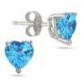 4mm Heart-Cut Blue Topaz Stud Earrings, 14K White Gold