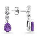Antique-Style Amethyst and Diamond Earrings, 14K White Gold