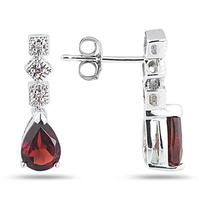 Antique-Style Garnet and Diamond Earrings, 14K White Gold