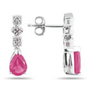 Antique-Style Pink Topaz and Diamond Earrings