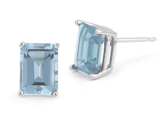 3.40 Carat Emerald-Cut Aquamarine Stud Earrings, 14K White Gold