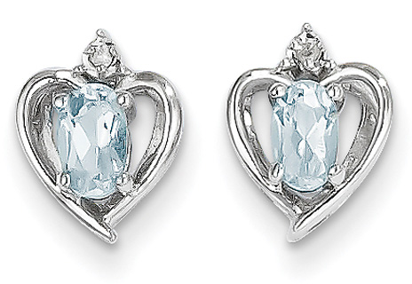 Aquamarine Heart Earrings, 14K White Gold