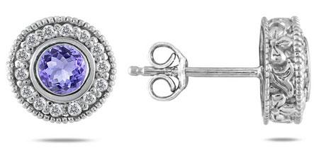Authentic Tanzanite and 1/3 Carat Diamond Halo Earrings