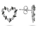 Black Diamond Heart Earrings, 14K White Gold