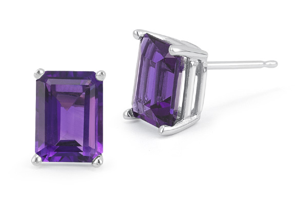 3.40 Carat Emerald-Cut Amethyst Stud Earrings, 14K White Gold