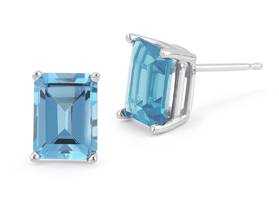 3.40 Carat Emerald-Cut Blue Topaz Stud Earrings, 14K White Gold