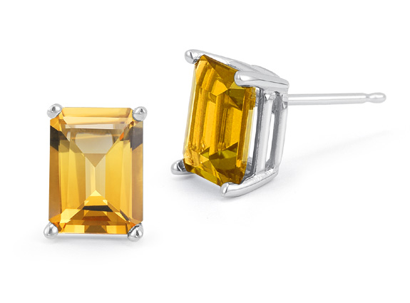 3.40 Carat Emerald-Cut Citrine Stud Earrings in 14K White Gold