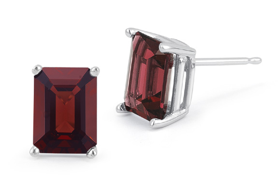 3.40 Carat Emerald-Cut Garnet Stud Earrings, 14K White Gold