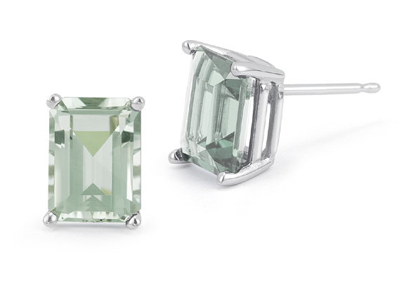 3.40 Carat Emerald-Cut Green Amethyst Stud Earrings