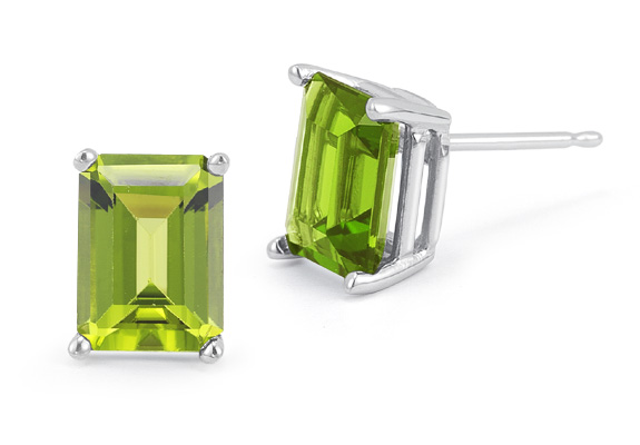 3.40 Carat Emerald-Cut Peridot Stud Earrings in 14K White Gold