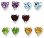 5 Gemstone Heart Stud Earrings Set in Sterling Silver