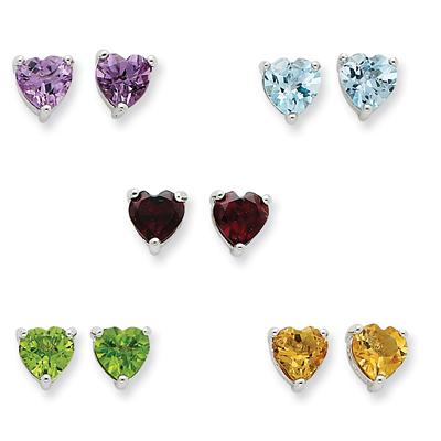 5 Gemstone Heart Stud Earrings Set in Sterling Silver