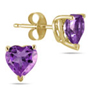 Genuine 4mm Heart-Shape Amethyst Earrings, 14K Yellow Gold
