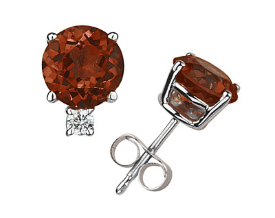 Genuine 4mm Round Garnet and Diamond Studs, 14K White Gold