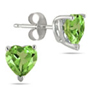 Genuine 6mm Heart Shaped Peridot Studs, 14K White Gold