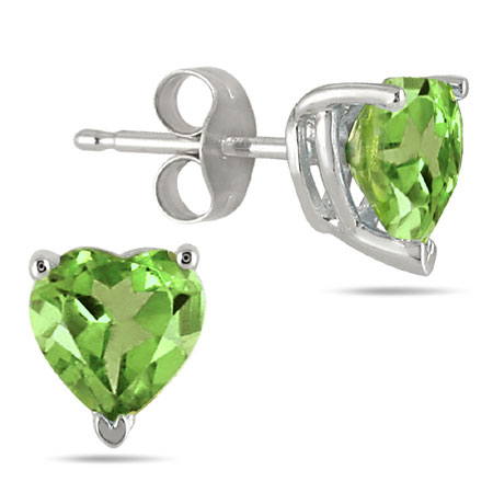 Heart-Shape Peridot Studs, 14K White Gold (4mm)
