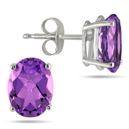 Genuine 6x4mm Oval-Cut Amethyst Stud Earrings set in 14k White Gold