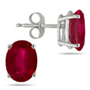 Genuine 6x4 mm Oval-Cut Ruby Earrings in 14K White Gold