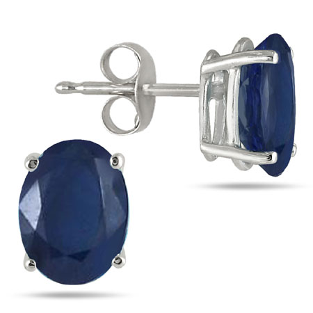 Genuine 6x4mm Oval-Cut Sapphire Stud Earrings Made in 14K White Gold