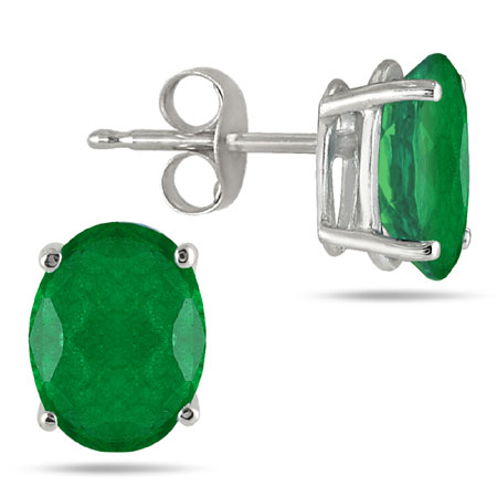 Genuine 6x4mm Oval Emerald Stud Earrings Crafted in 14k White Gold