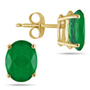 Genuine 6x4mm Oval Emerald Studs Set in 14K Yellow Gold