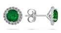 1 Carat Emerald and Diamond Halo Stud Earrings, 14K White Gold