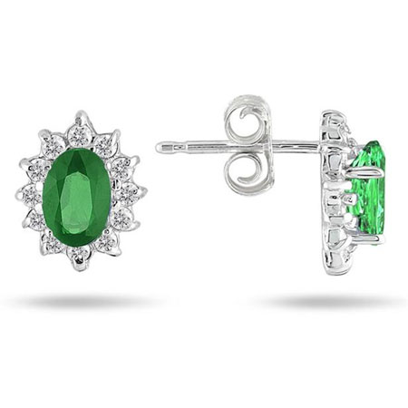 Genuine Emerald and Diamond Flower Earrings
