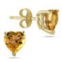Genuine Heart-Shape Citrine 4mm Earrings, 14K Yellow Gold