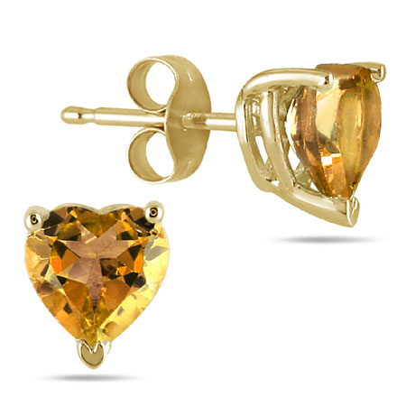 Genuine Heart-Shape Citrine 4mm Earrings, 14K Yellow Gold