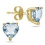 Genuine Heart-Shape Aquamarine 4mm Earrings, 14K Yellow Gold