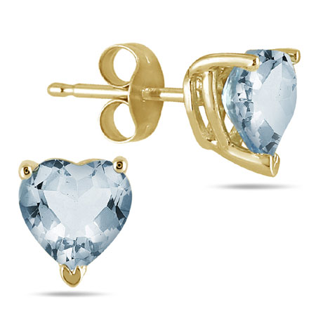 Genuine Heart-Shape Aquamarine 4mm Earrings, 14K Yellow Gold