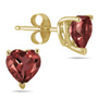 Genuine Heart-Shape Garnet 4mm Earrings, 14K Yellow Gold
