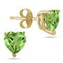 Genuine Heart-Shape Peridot 4mm Earrings, 14K Yellow Gold