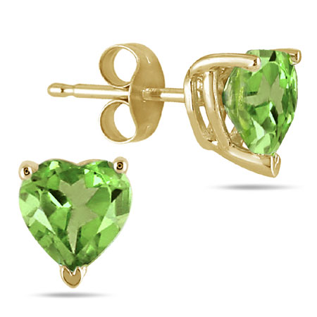 Genuine Heart-Shape Peridot 4mm Earrings, 14K Yellow Gold