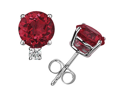 Genuine Round Ruby and Diamond Studs in 14K White Gold