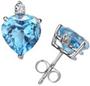 Heart-Cut Blue Topaz and Diamond Stud Earrings in 14K White Gold