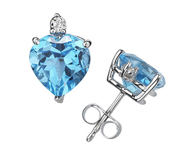 Heart-Cut Blue Topaz and Diamond Stud Earrings in 14K White Gold
