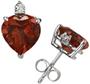 Heart-Cut Garnet and Diamond Stud Earrings, 14K White Gold