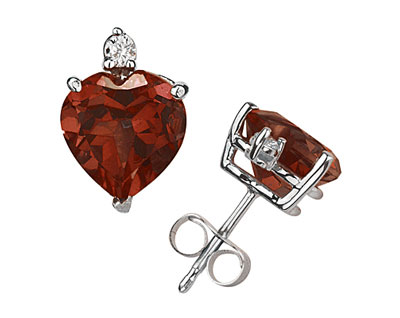 Heart-Cut Garnet and Diamond Stud Earrings, 14K White Gold