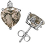 Heart-Cut Smokey Quartz and Diamond Stud Earrings, 14K White Gold