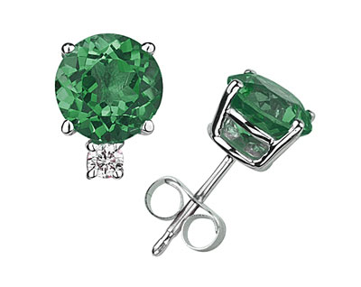 Natural 4mm Round Emerald and Diamond Stud Earrings, 14K White Gold