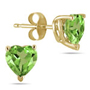 Natural 6mm Heart-Shape Peridot Stud Earrings, 14K Yellow Gold